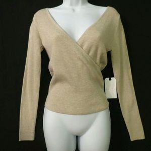 Leith Rib knit top Deep V-neck Faux wrap Small